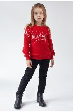 Рождественский свитшот для девочки Олени Red