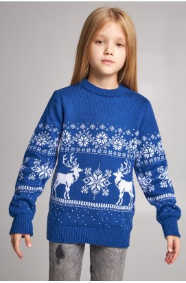 В'язаний светр для дівчинки Сніжинки з оленями синій