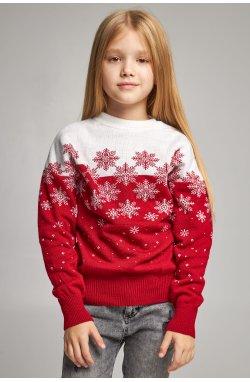 Вязаный свитер для девочки Снежинки красный