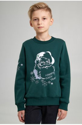 Різдвяний світшоти для хлопчика Дід Мороз зелений