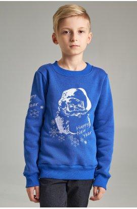 Рождественский свитшот для мальчика Дед Мороз синий