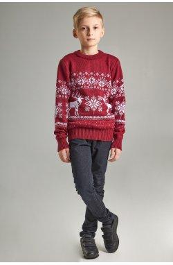Новогодние вязаные детские свитера для двоих Дед мороз с оленями бордовые