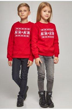 Новогодние детские свитера для двоих с оленями красные