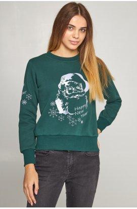 Женский вышитый свитшот Дед Мороз зеленый