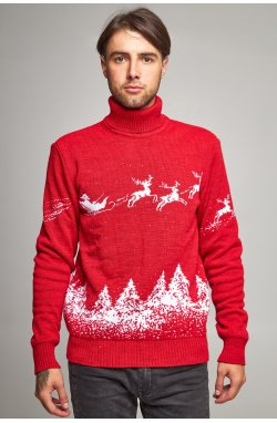 Новогодний вязаный свитер с Оленями 10