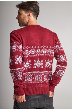 Новогодний вязаный свитер с Оленями 8