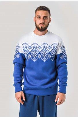Мужской новогодний свитшот снежинка