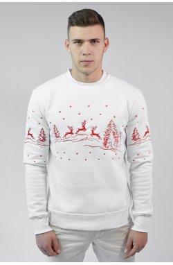 Рождественский мужской свитшот с Оленями White