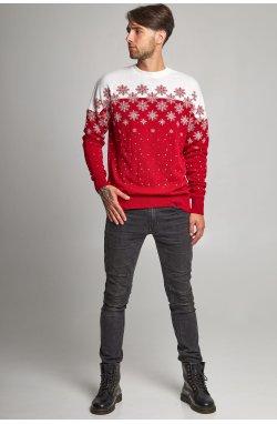 Новогодние свитера для двоих снежинка красный