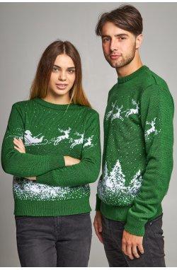 Новогодние свитера для двоих Дед мороз с оленями зеленый