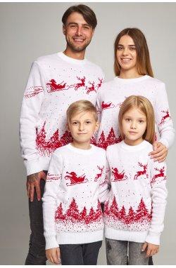 Семейные вязаные рождественские свитера с оленями белый