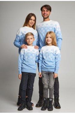 Семейные вязаные рождественские свитера Снежинки голубой