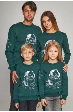 Семейные рождественские свитшоты с Дедом морозом зеленые