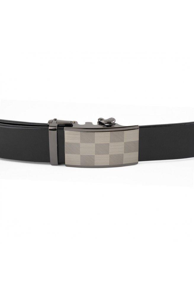Ремень мужской с автоматической пряжкой шахматка Vintage 20266 Черный