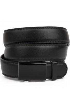 Ремень мужской c двойной строчкой тонкий Vintage 20312 Черный