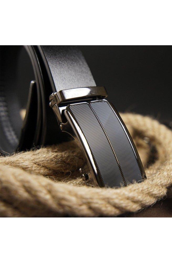 Ремень мужской c затемненной черной матовой пряжкой Vintage 20279 Черный