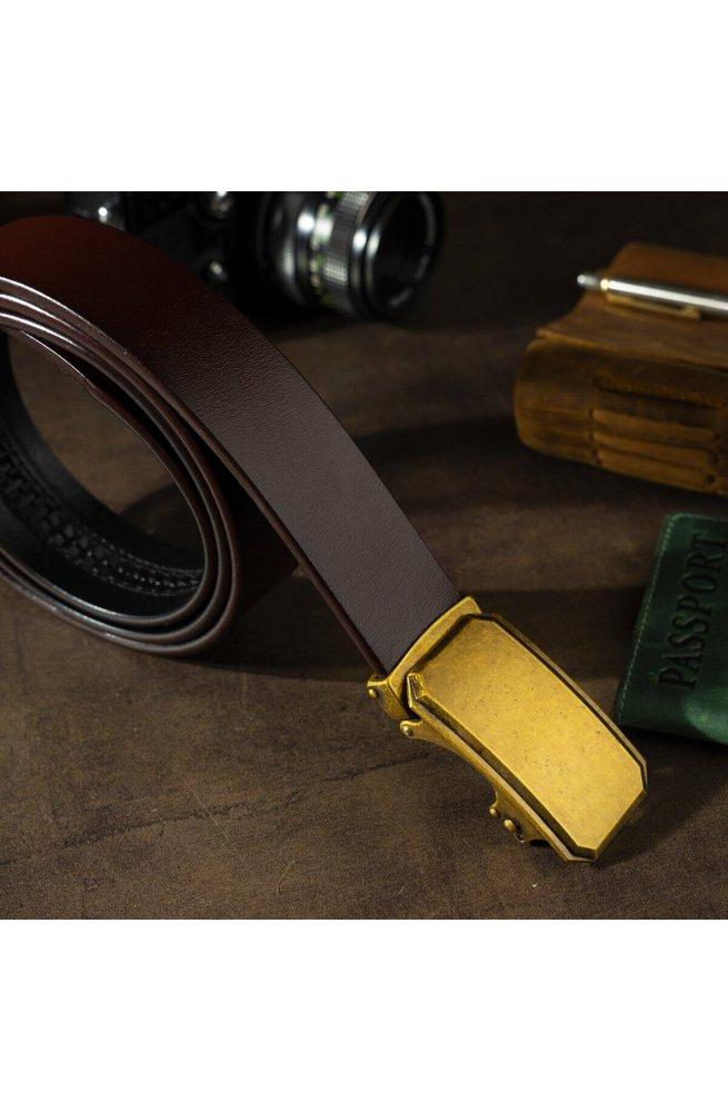 Ремень мужской c латунной угловатой пряжкой Vintage 20276 Коричневый