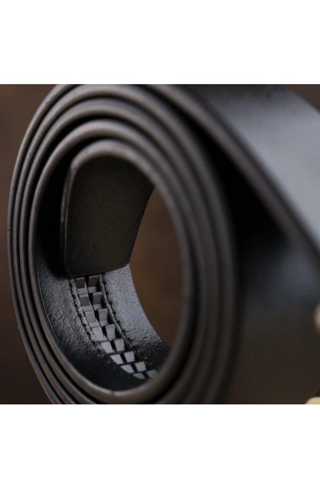 Ремень мужской c угловатой пряжкой Vintage 20274 Черный