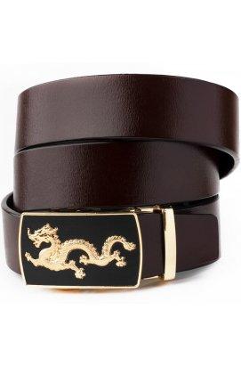 Ремень мужской золотой дракон Vintage 20259 Коричневый