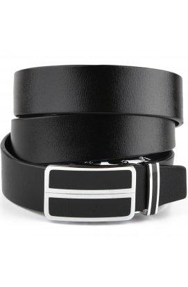 Ремень мужской с автоматической пряжкой и черными вставками Vintage 20281 Черный
