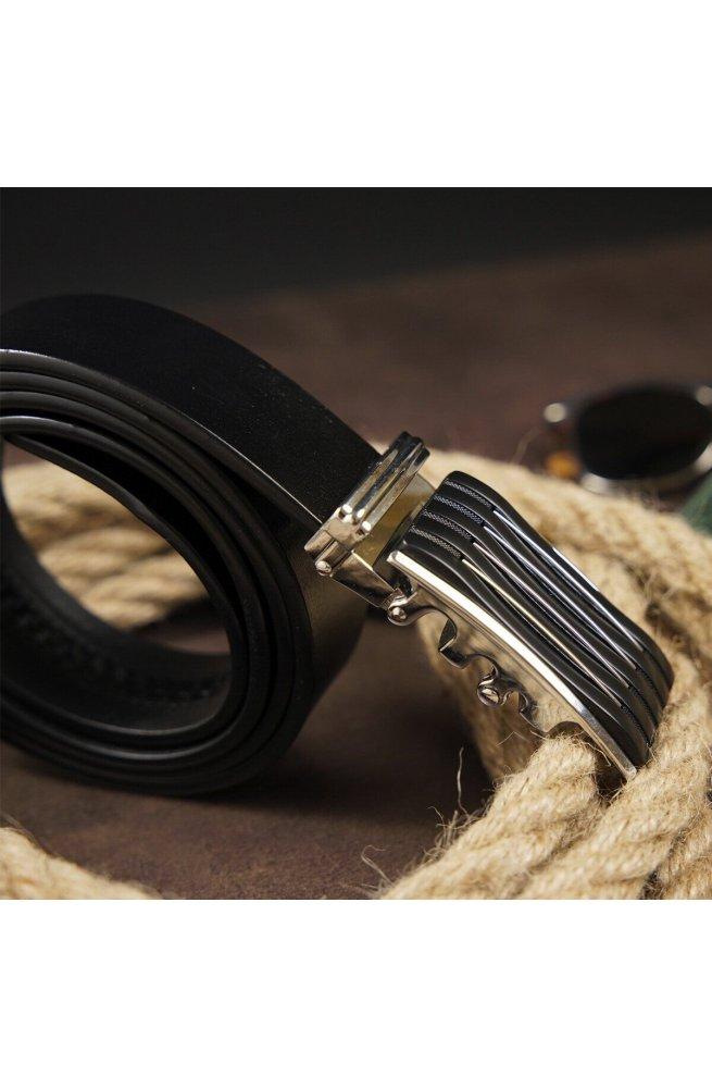 Ремень мужской с автоматической пряжкой полоска Vintage 20301 Черный