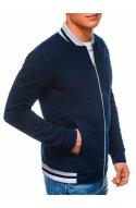 Чоловіча толстовка на блискавці без капюшона B1183 - темно-синій - Ombre