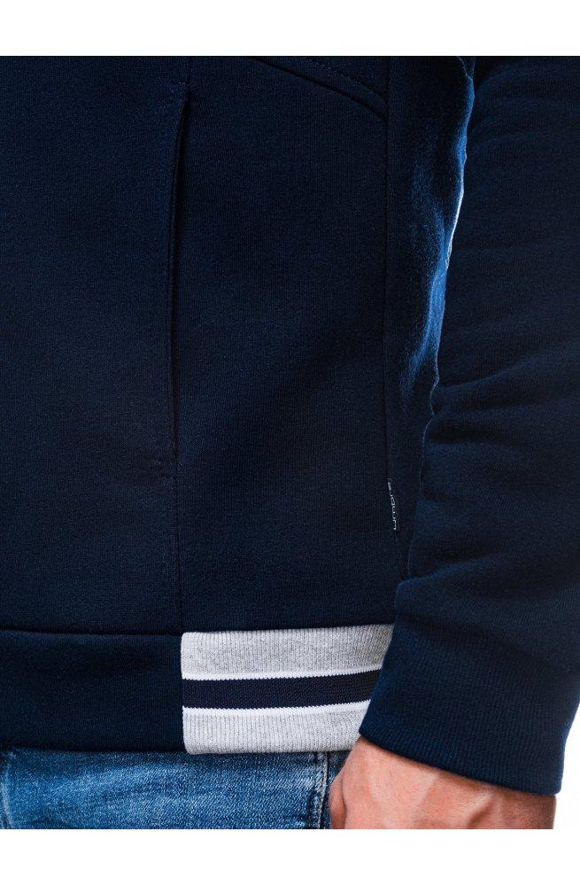 Мужская толстовка на молнии без капюшона B1183 - темно-синий - Ombre