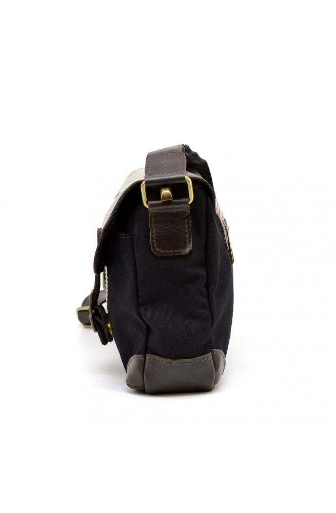 Мужская сумка через плечо из кожи и канваса RGa-6002-3md TARWA черно-коричневый
