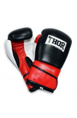 Перчатки боксерские THOR ULTIMATE 10oz /Кожа /бело-черно-красные