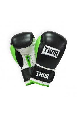 Перчатки боксерские THOR TYPHOON 14oz /PU /черно-зелено-белые