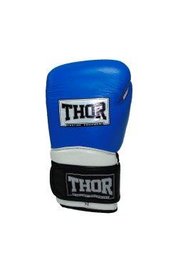 Перчатки боксерские THOR PRO KING 14oz /Кожа /сине-бело-черные
