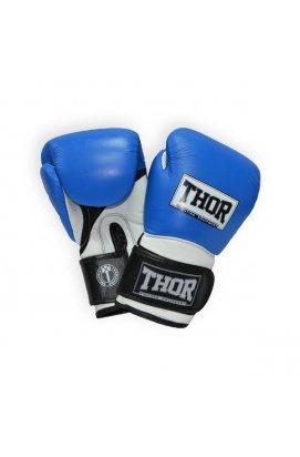Перчатки боксерские THOR PRO KING 16oz /Кожа /сине-бело-черные