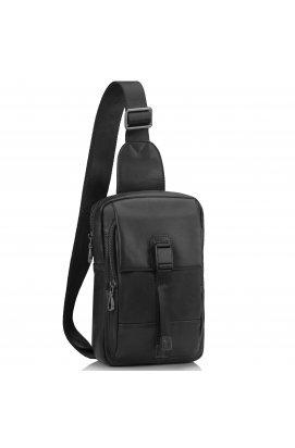 Сумка-слинг черная мужская Tiding Bag 312A - натуральная кожа, черный