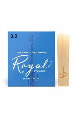 Трости для духового инструмента D'ADDARIO Royal - Soprano Sax #3.0 (1шт)