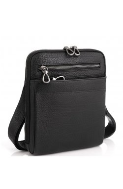 Черная мужская кожаная сумка-мессенджер Tavinchi S-008A - натуральная кожа, черный