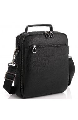 Кожаная сумка через плечо с ручкой Tavinchi S-010A - натуральная кожа, черный
