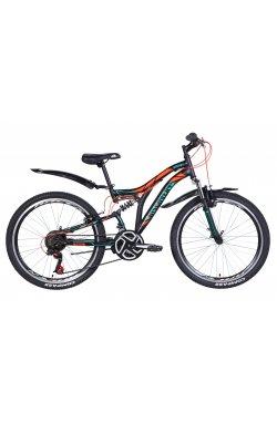 """Подростковый Велосипед Велосипед 24"""" Discovery ROCKET 2021 (черно-оранжевый с бирюзовым (м))"""