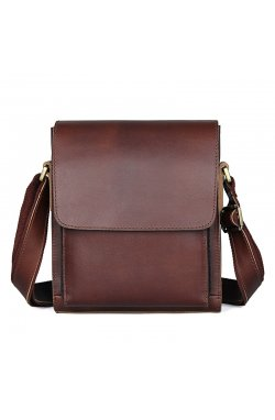 Кожаная сумка через плечо JD7055X John McDee из натуральной кожи Коричневый