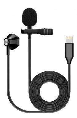 Микрофон шнуровой FZONE KM-06 LAVALIER MICROPHONE W/ EARPHONE (Lighting)