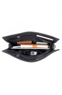 Кожаная сумка-папка, портфолио, органайзер, мессенджер малый размер John McDee A0011AS Черный