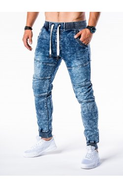 Мужские брюки джинсовые джоггеры P551 - светло-синие - Ombre