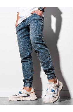 Мужские брюки джинсовые джоггеры P907 - темно-синий - Ombre