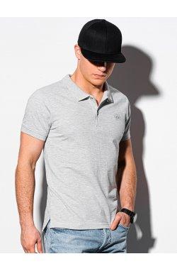 Мужская футболка поло без принта S1374 - серый - Ombre