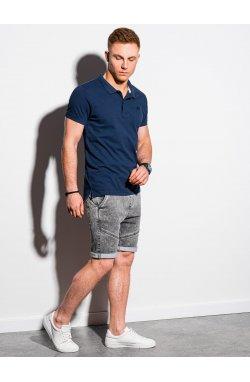 Мужская футболка поло без принта S1374 - темно-синий - Ombre