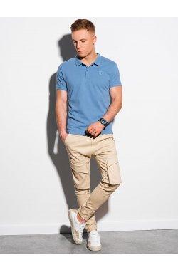Мужская футболка поло без принта S1374 - синий - Ombre