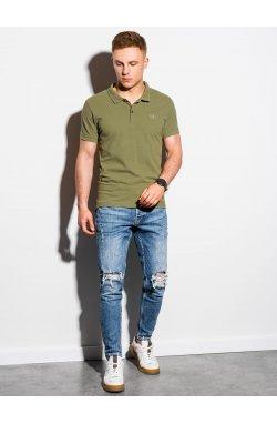 Мужская футболка поло без принта S1374 - оливковый - Ombre