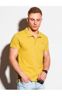 Мужская футболка поло без принта S1374 - жёлтый - Ombre