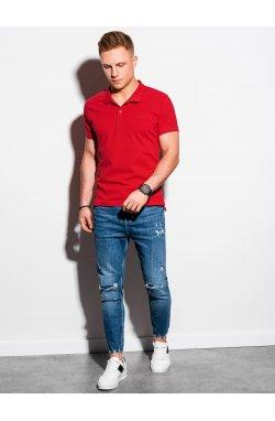 Мужская футболка поло без принта S1374 - красный - Ombre