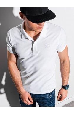 Мужская футболка поло без принта S1374 - белый - Ombre