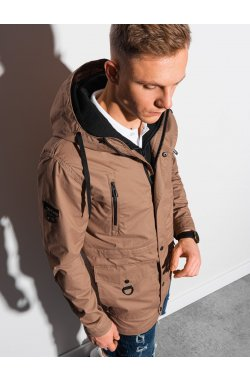 Мужская повседневная куртка C456 - темно-бежевый - Ombre
